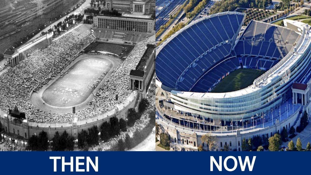 Nfl Stadiums Then And Now Nfl Stadiums Football Stadiums Stadium