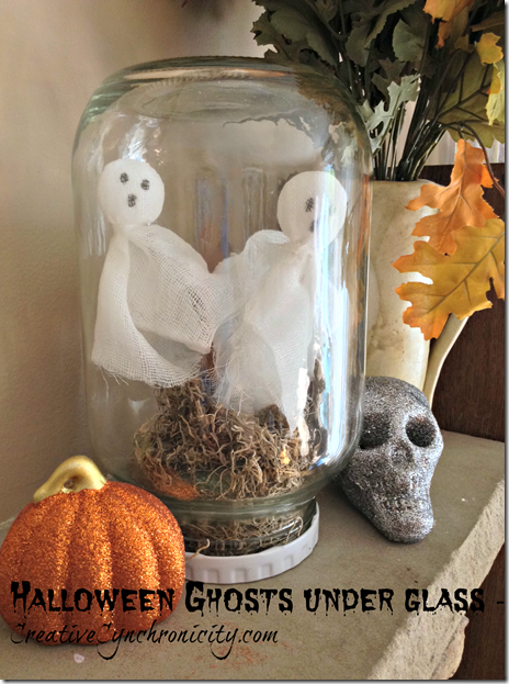 Make Halloween ghosts under glass. Craft tutorial you can make in under 15 minutes. Perfect decoration for your spooky celebration.