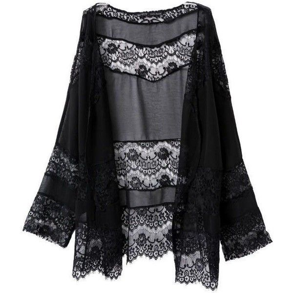 b6a8b5b8be Trendy Floral Lace Thin Black Chiffon Kimono ❤ liked on Polyvore featuring  intimates