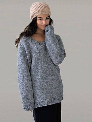 \u0027COSY\u0027 oversized V,neck sweater knitted in Rowan Brushed Fleece from  \u0027Still. \u0027