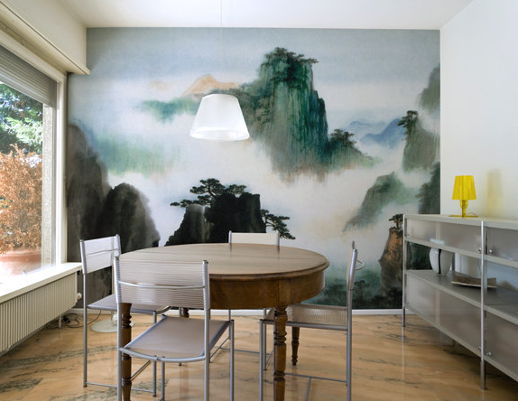 This wall mural of a Chinese watercolor painting adds drama and ...