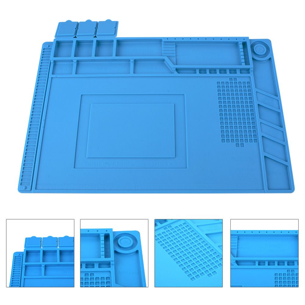 Heat Insulation Silicone Pad Desk Mat Maintenance Platform For Bga Tools Soldering Tool Kit 12 Different Circuit Board Repair Station With Magnetic Section 3size P15