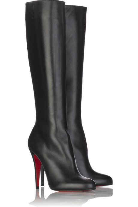 Christian Louboutin Babel Leather Boots Black leather knee high boots with  an approximate 100mm/ 4