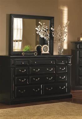 Antique Black Wood Drawer Dresser
