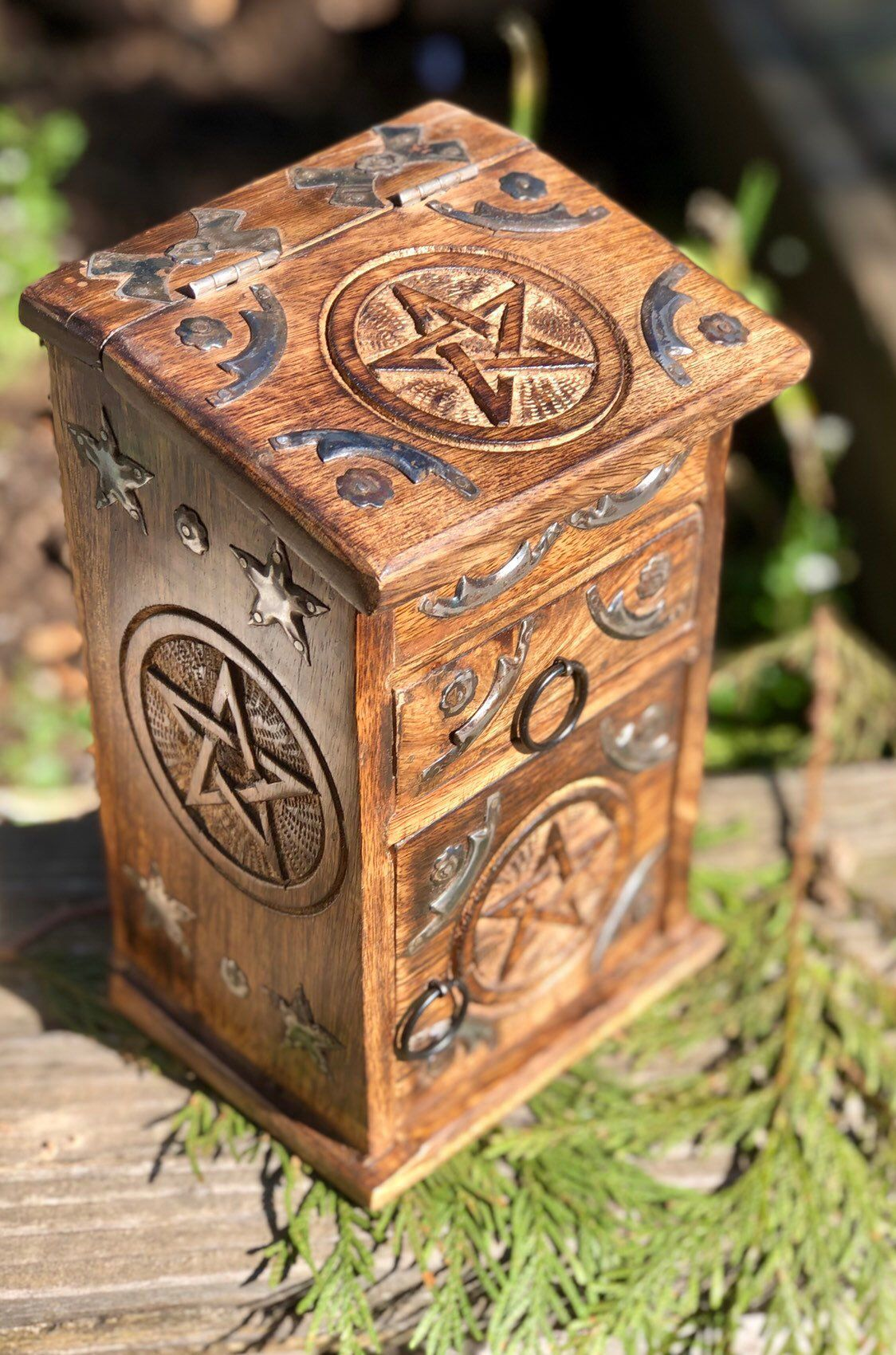 Pentagram Herb Cabinet Altar Kit Carved Wood Apothecary Witch Pagan Cabinet, Wiccan Decor #wiccandecor