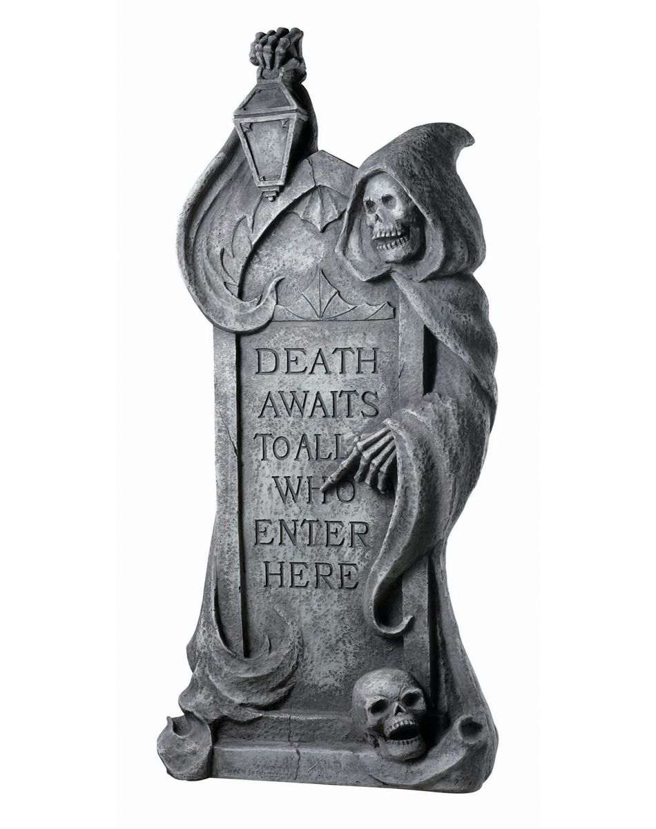 transform your lawn into a haunted cemetery when you decorate with this amazingly realistic resin reaper tombstone send a spooky message to all who dare to