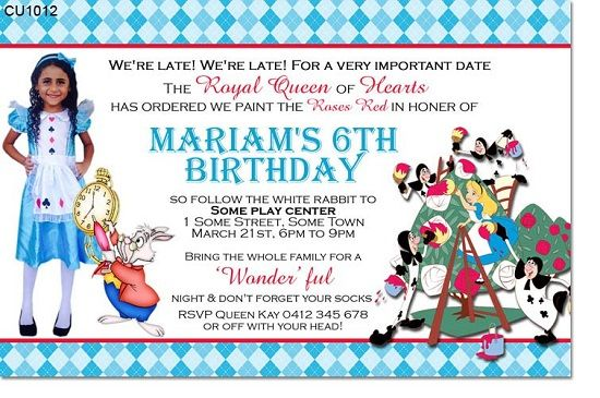 Awesome Alice in Wonderland Birthday Invitations Ideas FREE