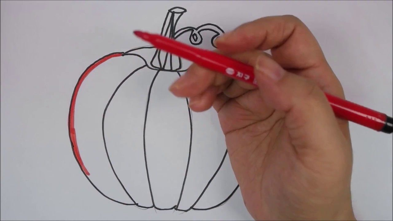 Coloring book page how to draw and paint rainbow pumpkin kids fun