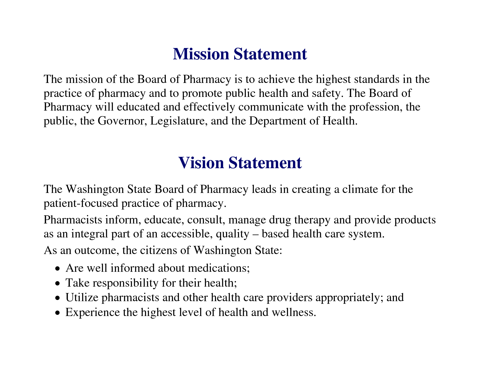 Vision statement examples for business yahoo image for Health and safety statement of intent template
