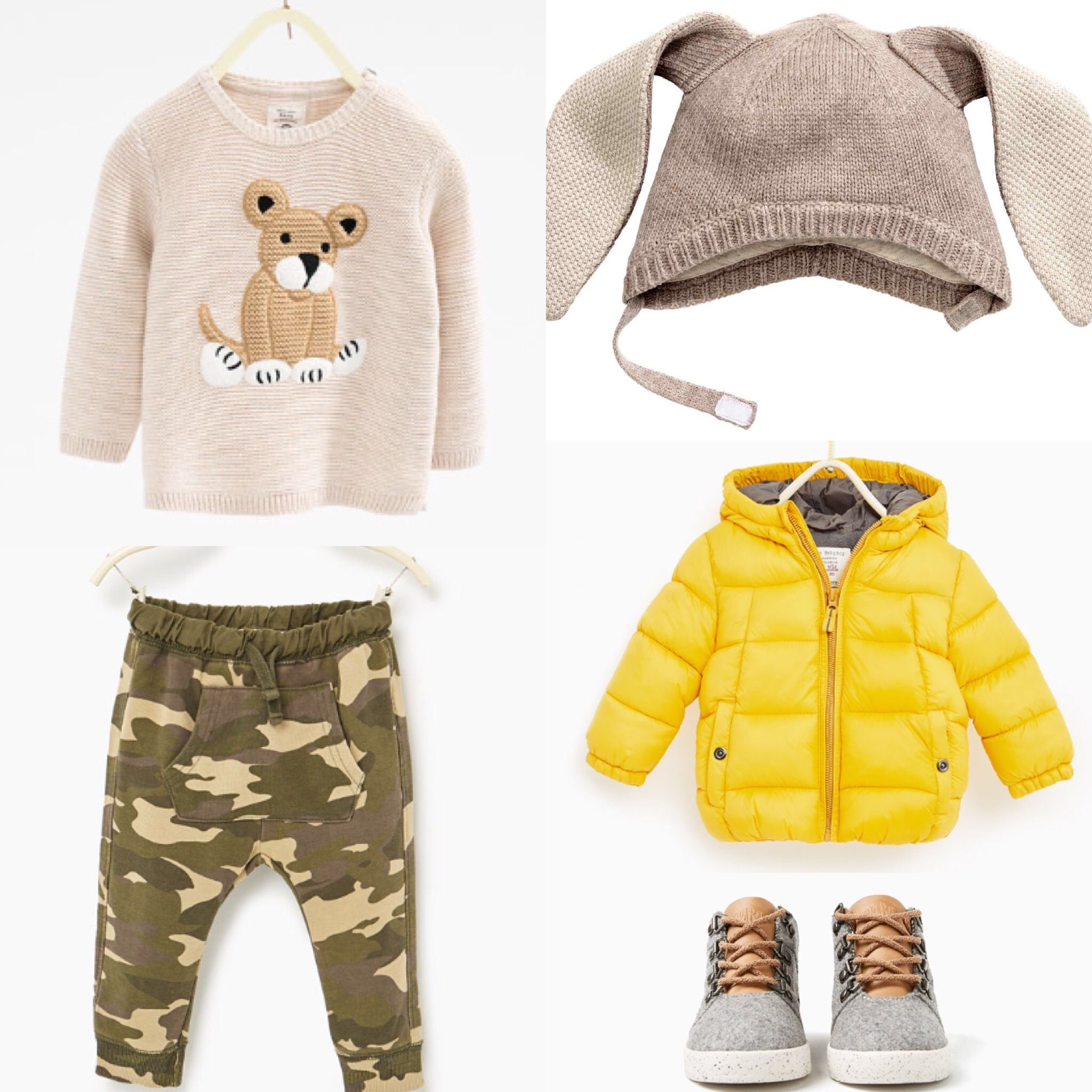 Baby boy fall outfit H&M hat Zara sweater trousers jacket and