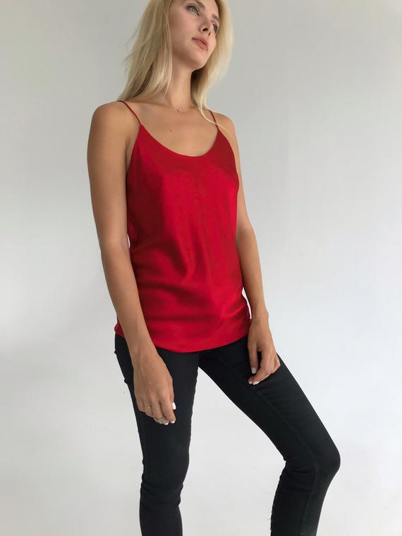 53b2de3a6dbaa Red silk camisole Scoop-neck silk-satin red cami top Classic simple silk  top Red silk shirt Sleevele