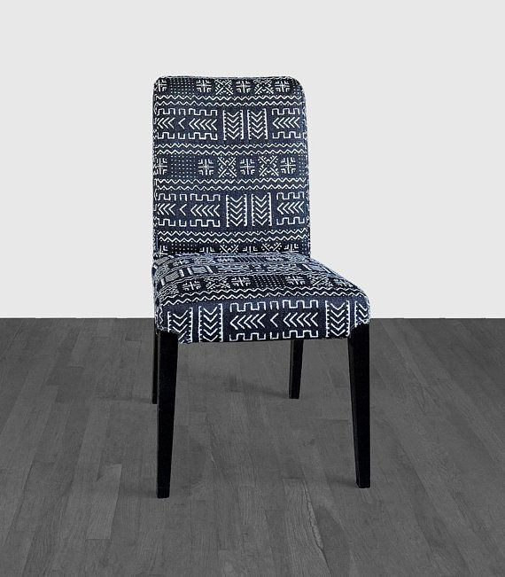 Tribal Print Black Ikea Henriksdal Dining Chair Cover