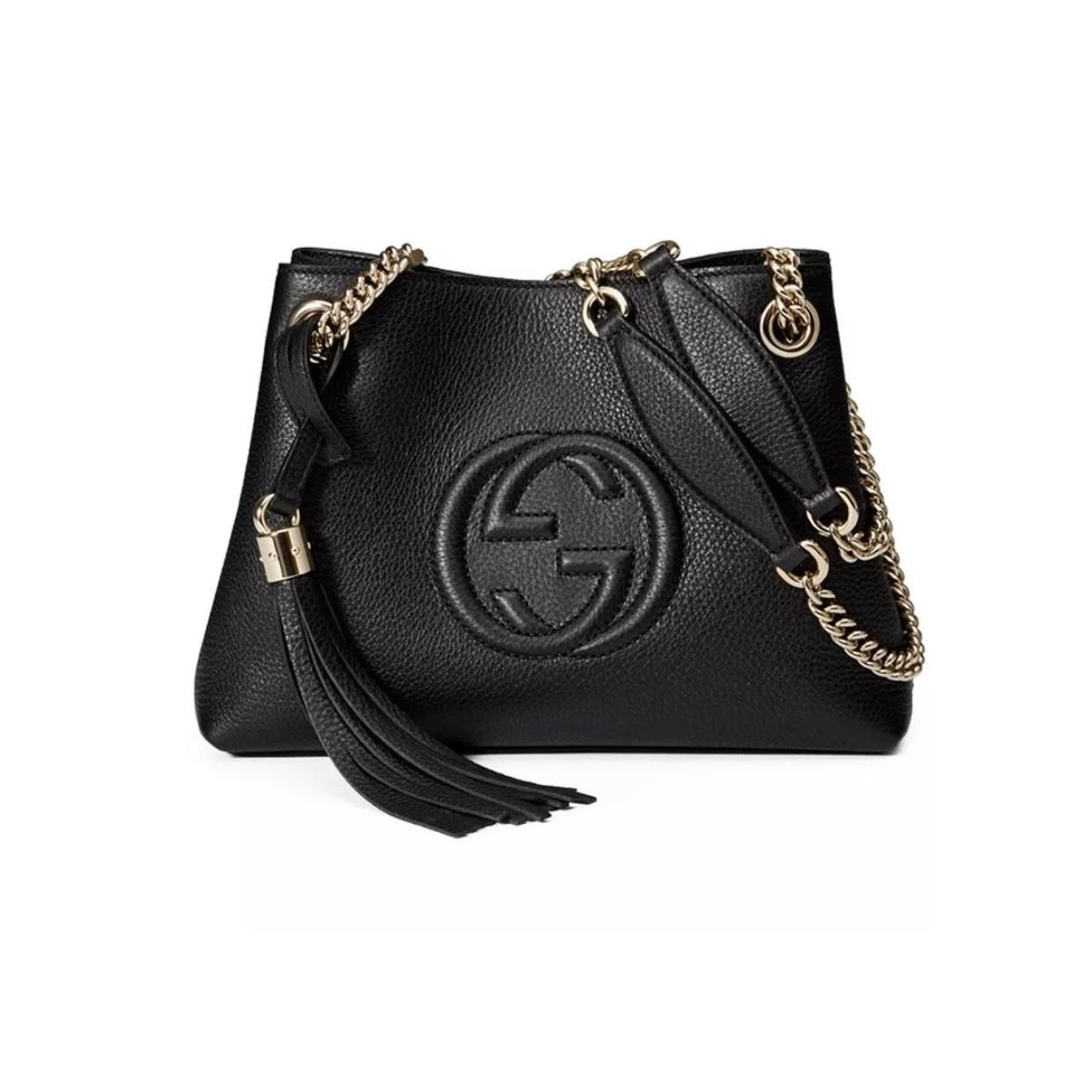 7b645266bda Get one of the hottest styles of the season! The Gucci Soho Leather Small  Chain Black Tote Bag is a top 10 member favorite on Tradesy.