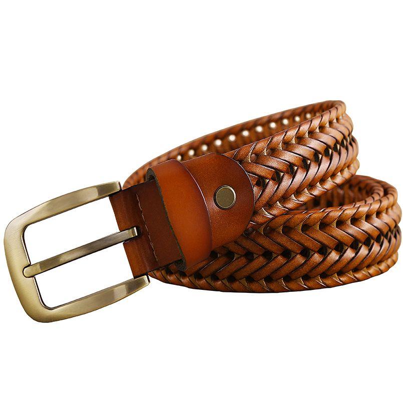 123984616 2016 Nueva Trenzada Cinturón de Hombre de Moda Para Hombre cinturones de  lujo de cuero genuino buena segunda capa de piel de Vaca correas de los  hombres de ...