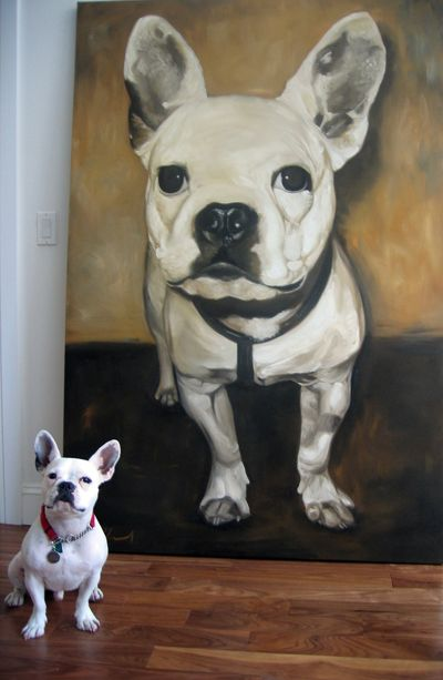 Oil portrait of french bulldog by Steven Morrell. see more at smportraits.com