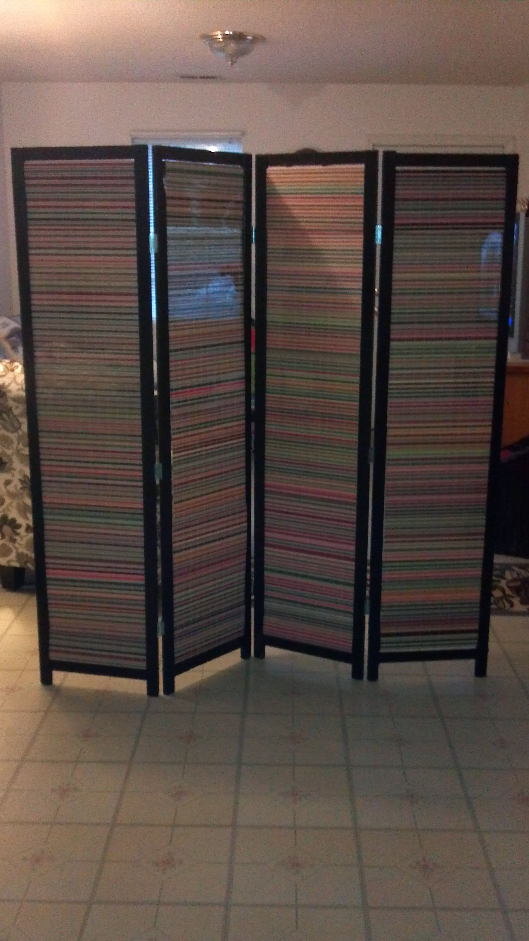 DIY room divider spray painted an old room divider from an antique