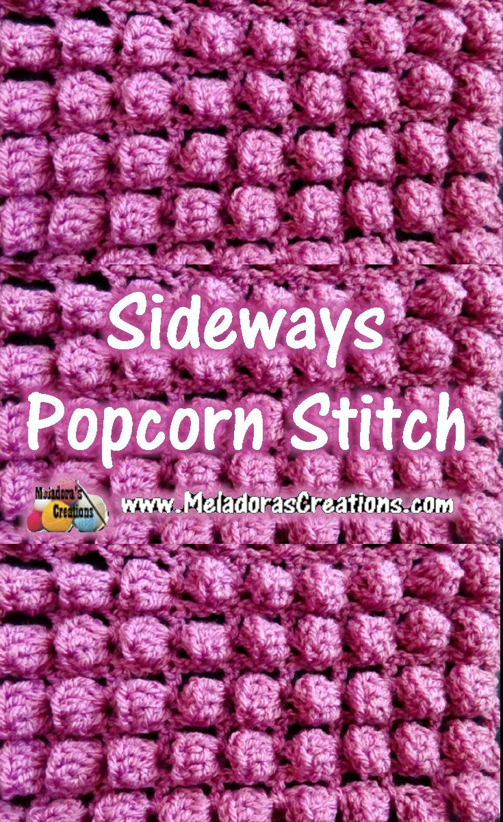 Sideways Popcorn Bobble Stitch Crochet Tutorials & Chart | Pinterest ...