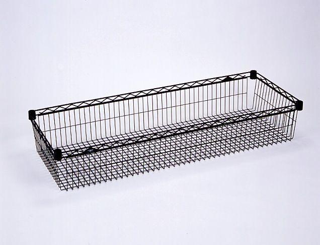 8 Deep Basket Shelf Light Duty Available In Black Or White Basket Shelves Shelf Lighting Shelves 8 inch deep wire shelving