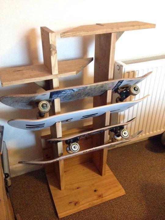 Husband Made A Skateboard Rack Skateboard Rack Skateboard Rack Ideas Bike Rack Wall