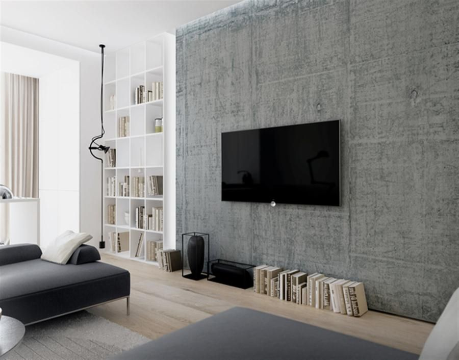 exposed concrete wall with wall mounted tv in the lounge area home
