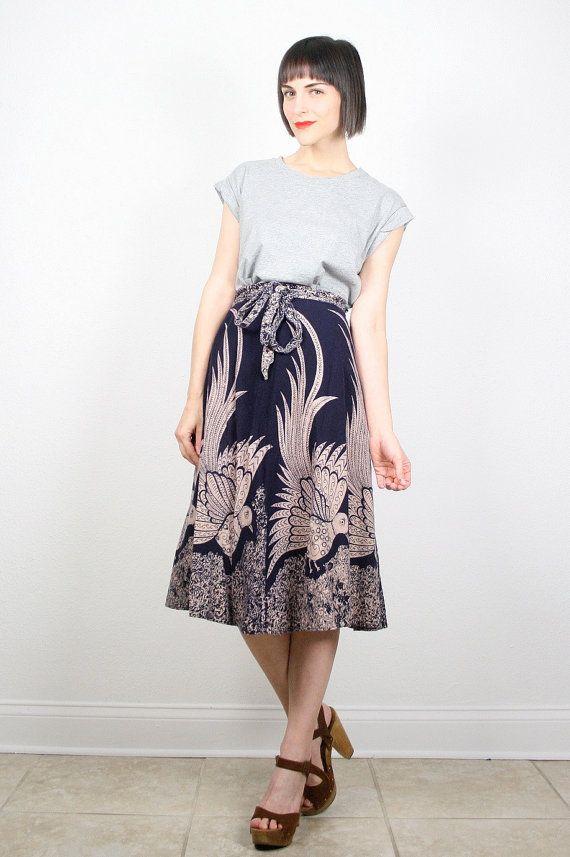 Vintage Hippie Skirt Wrap Skirt India Skirt by ShopTwitchVintage #vintage #etsy #70s #1970s #skirt #midi #hippie #boho #india #peacock