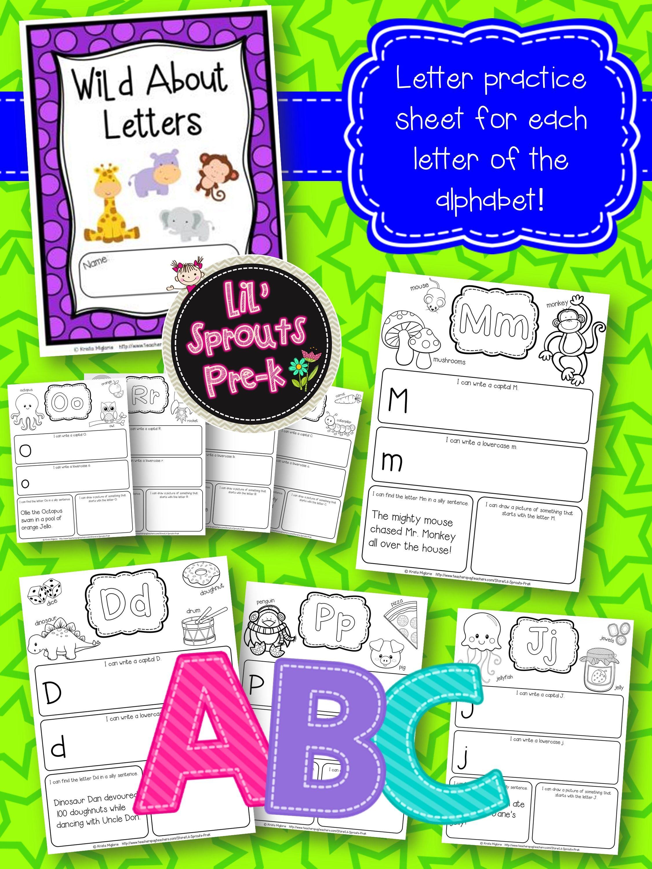 Alphabet Letter Journal A Z No Prep Worksheets Pre K