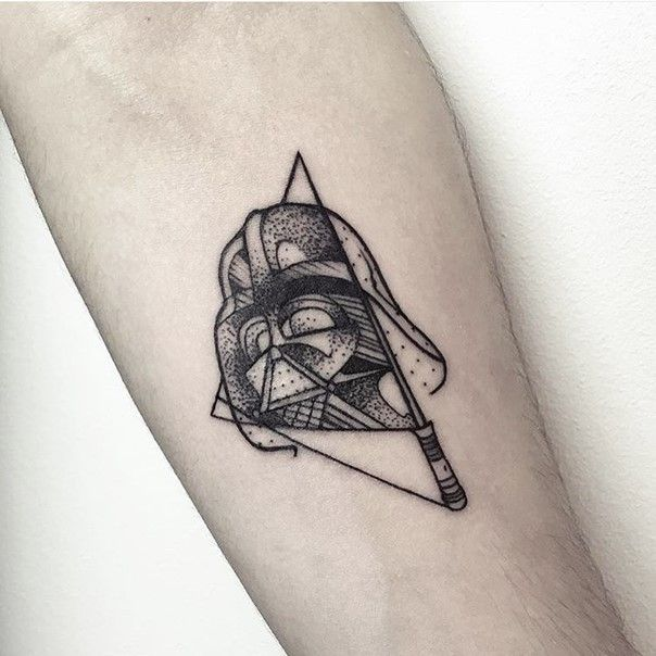 Geometrical Style Little Black Ink Darth Vader Mask Tattoo