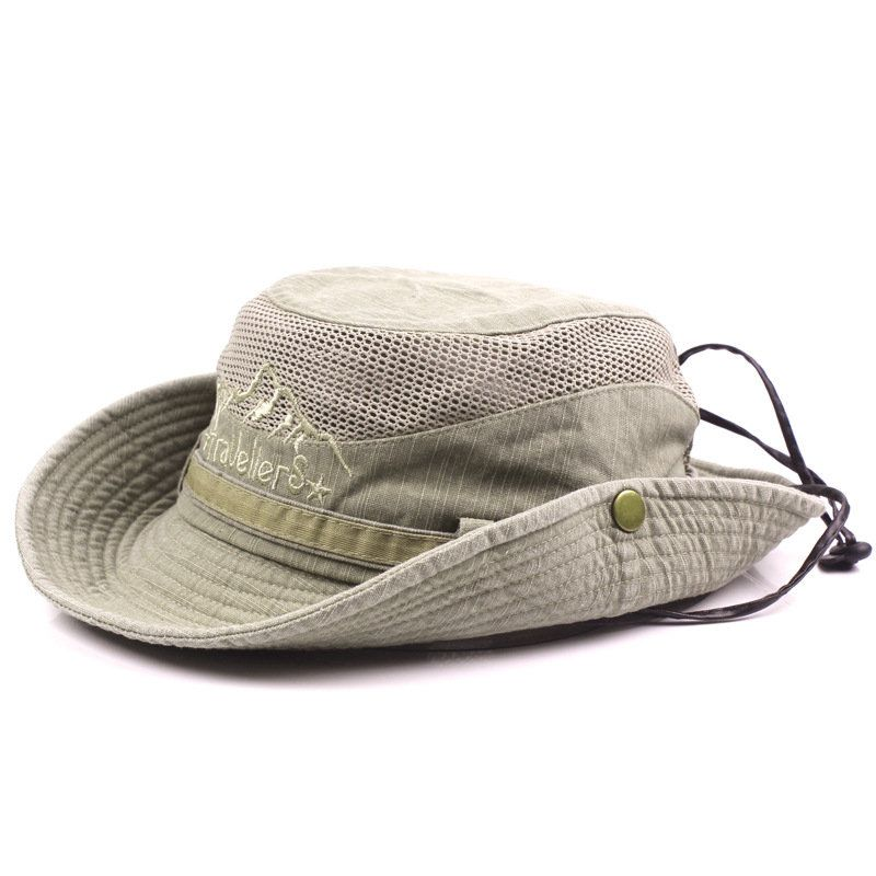 f93f1f313f66a4 Mens Summer Cotton Embroidery Visor Bucket Hats Fisherman Hat Outdoor  Climbing Mesh Sunshade Cap Cheap - NewChic Mobile