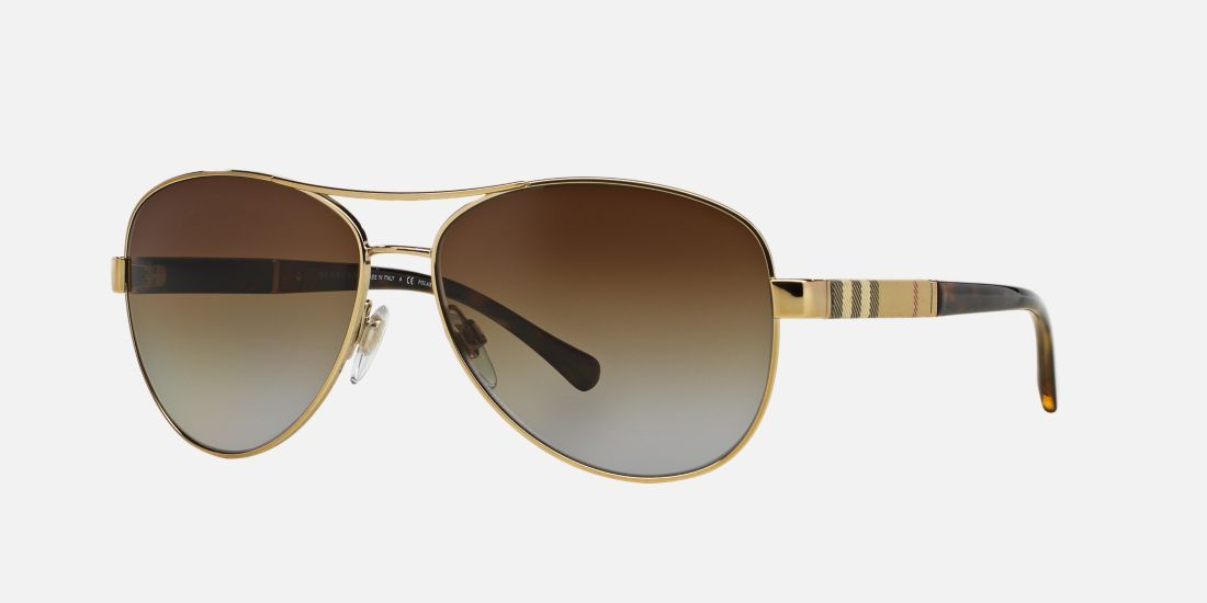 46983f1a5d Burberry BE3080 59 Brown   Gold Polarized Sunglasses