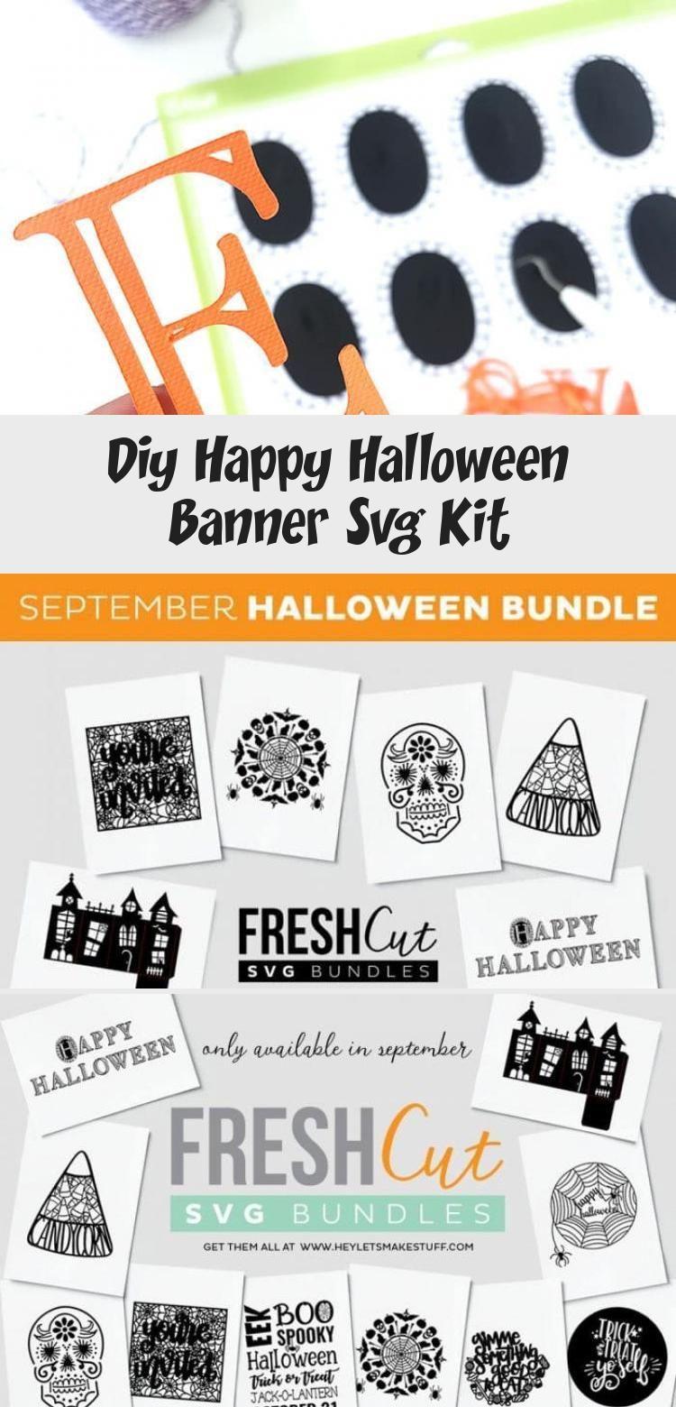 DIY Happy Halloween Banner SVG Kit - 100 Directions #bannerTemplate #bannerParaYoutube #Christmasbanner #bannerIdeas #bannerLetters #happyhalloweenschriftzug