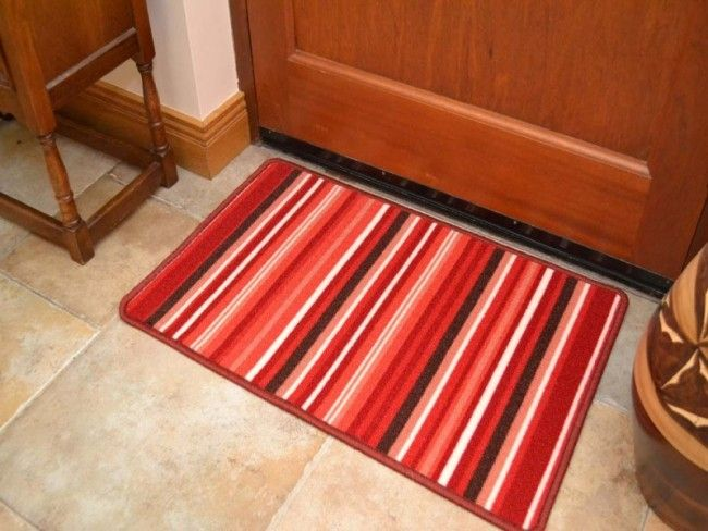 Riviera Red And Brown Stripes Non Slip Machine Washable Rug