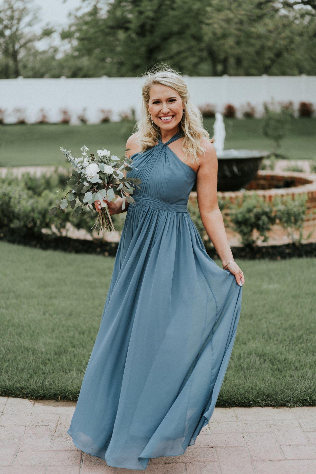 Dusty blue bridesmaid dress elegant wedding color ideas elegant