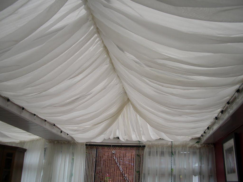 Voile Curtain attached to conservatory roof for the ...