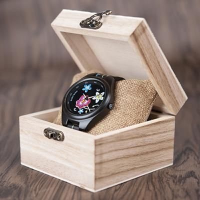 Fashion Colorful Flower Print Wood Watch For Women in Wood Gift Case- Daisy,Red Flower  wood watch womens for her ladies  Mom mum style internet unique products shops fashion band awesome accessories gift ideas beautiful girls outfit boxes pictures gifts casual For sale buy online Shopping womens Websites AuhaShop.com