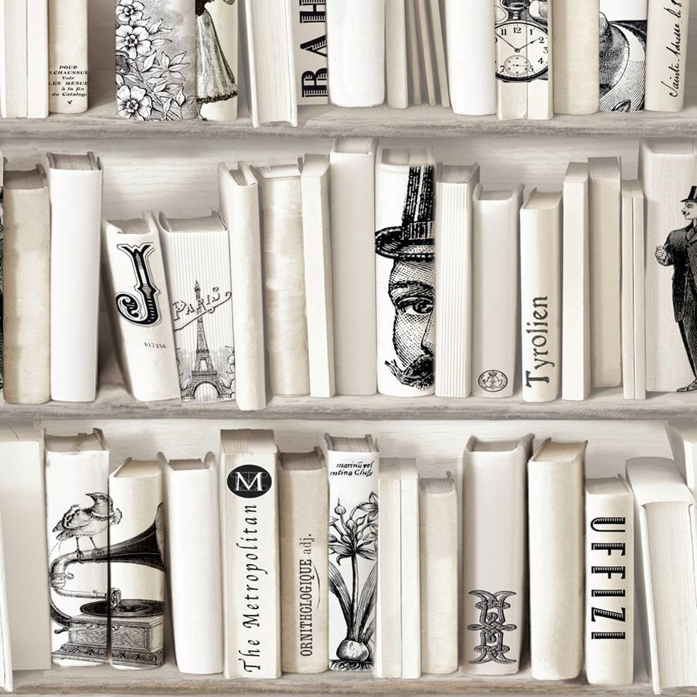 Muriva Encyclopedia Bookcase Wallpaper In Cream 572217