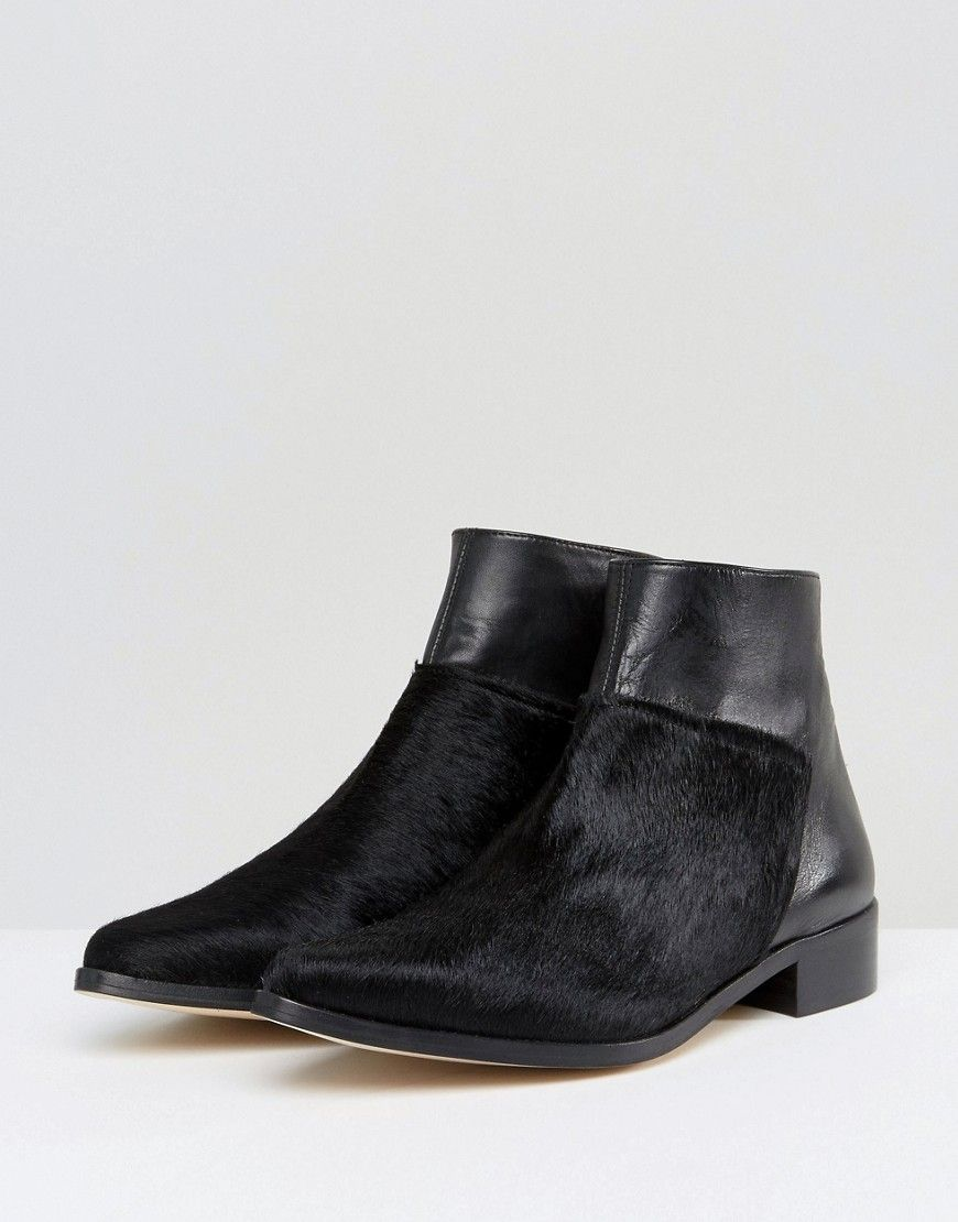 f1882216aa4ab Intentionally Blank Dallas Black Leather Flat Ankle Boots - Black ...