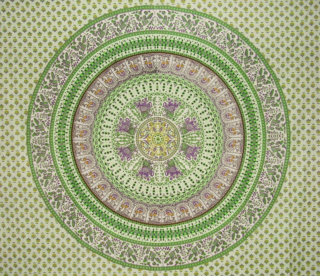 "Mandala Indian Tapestry Cotton Bedspread 96"" x 86"" Full Green"
