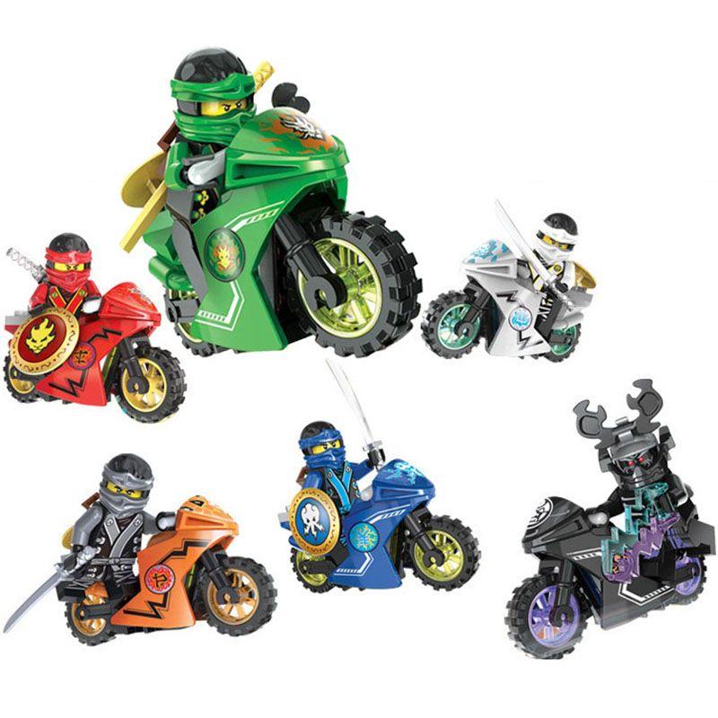 6pcs Ninja Motorcycle Building Blocks Bricks toys  Ninjagoed Ninja for kids