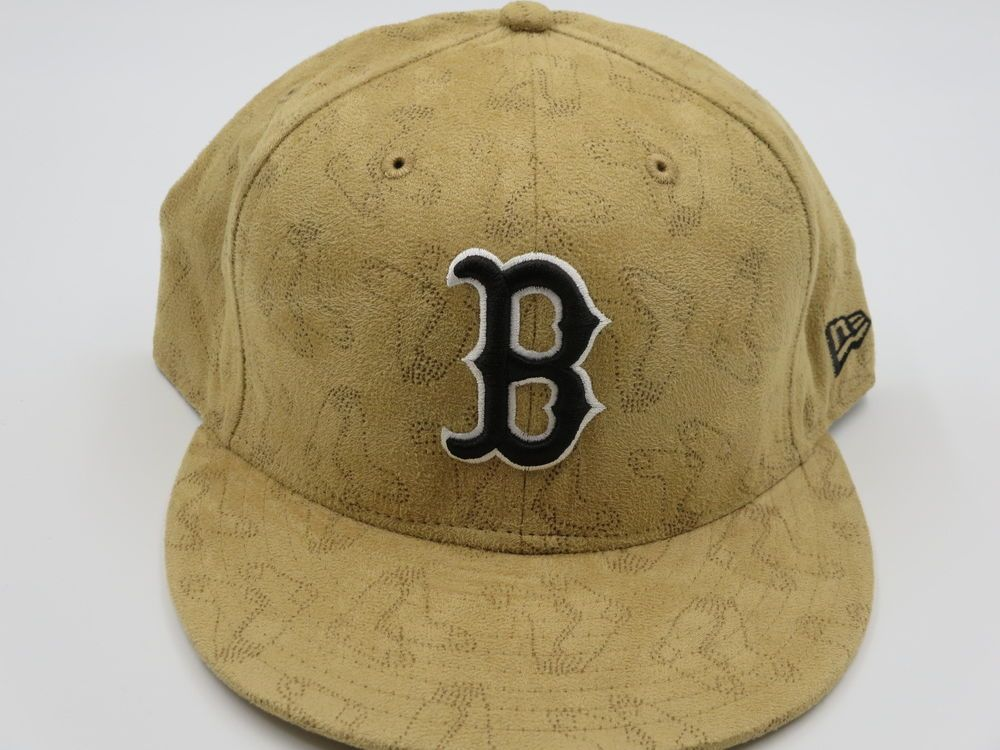 dbd12acb80e Boston Red Sox Tan Beige Suede 59FIFTY MLB Authentic New Era Fitted Hat 7-7  8…