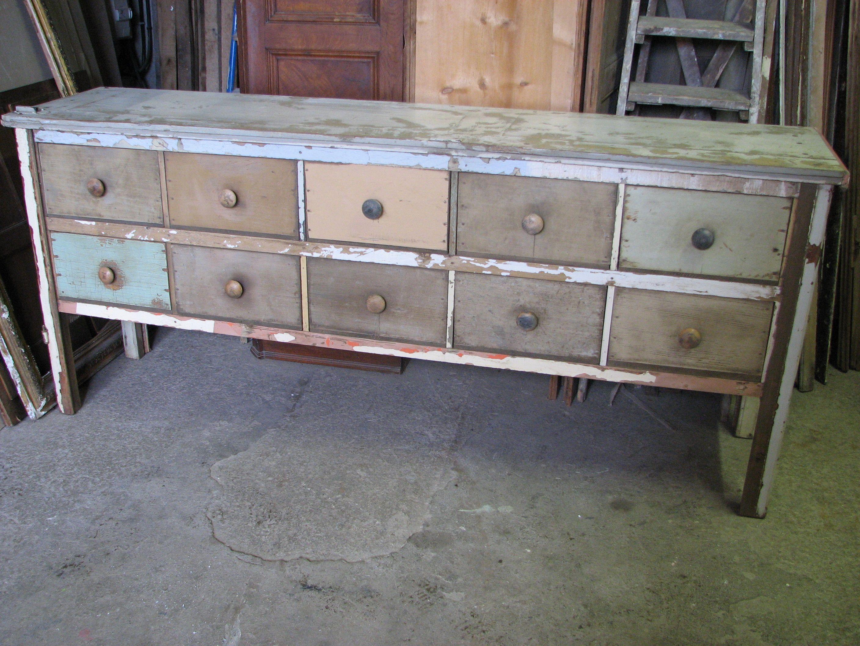 Enfilade 10 tiroirs en bois de r cup version brut for Meuble tiroir bois brut