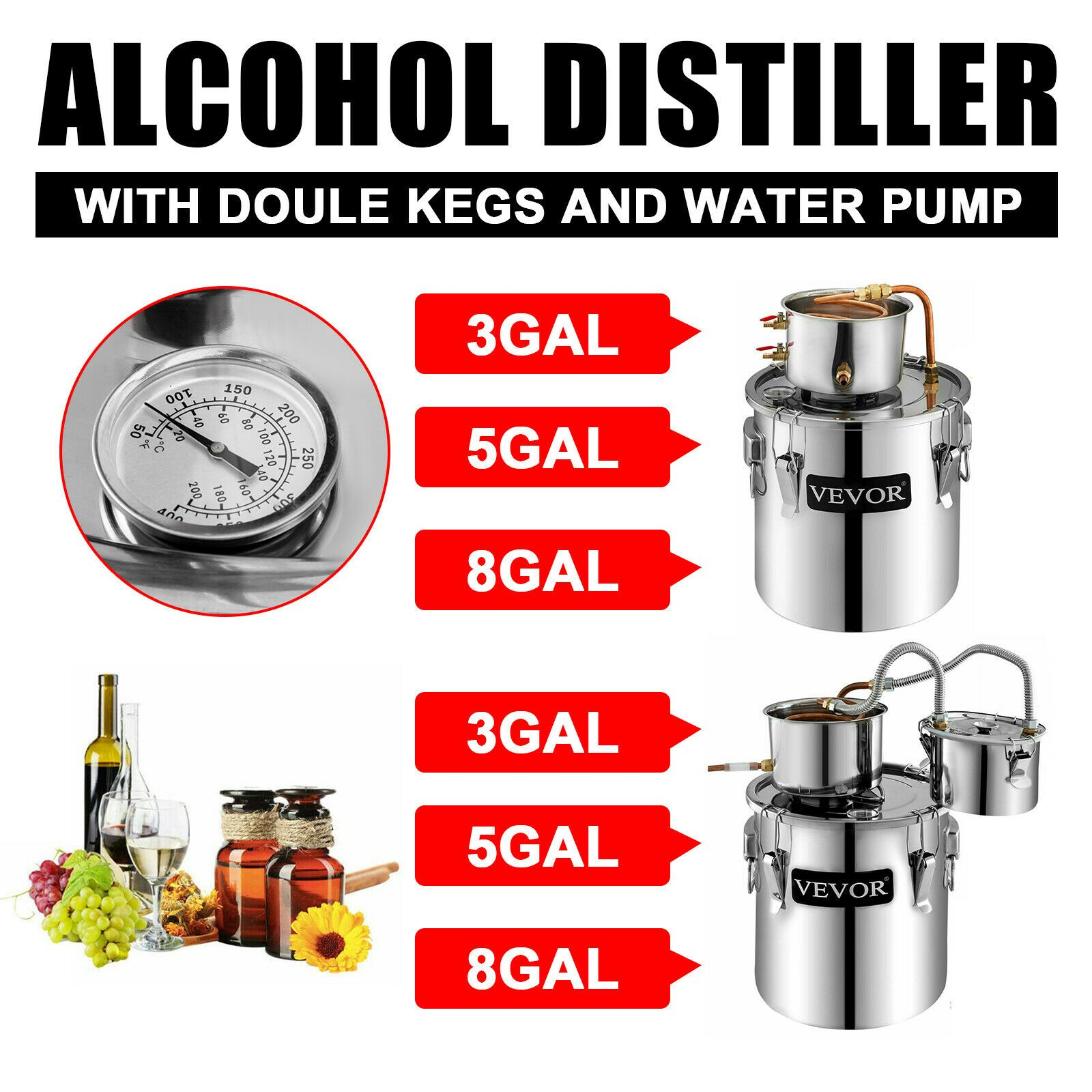 3 5 10 Gallon Wine Alcohol Water Distiller Moonshine Still Boiler High Quality 125 09 Wine Ideas Of Wine Wi In 2020 Moonshine Still Wine Making Kits Wine Making