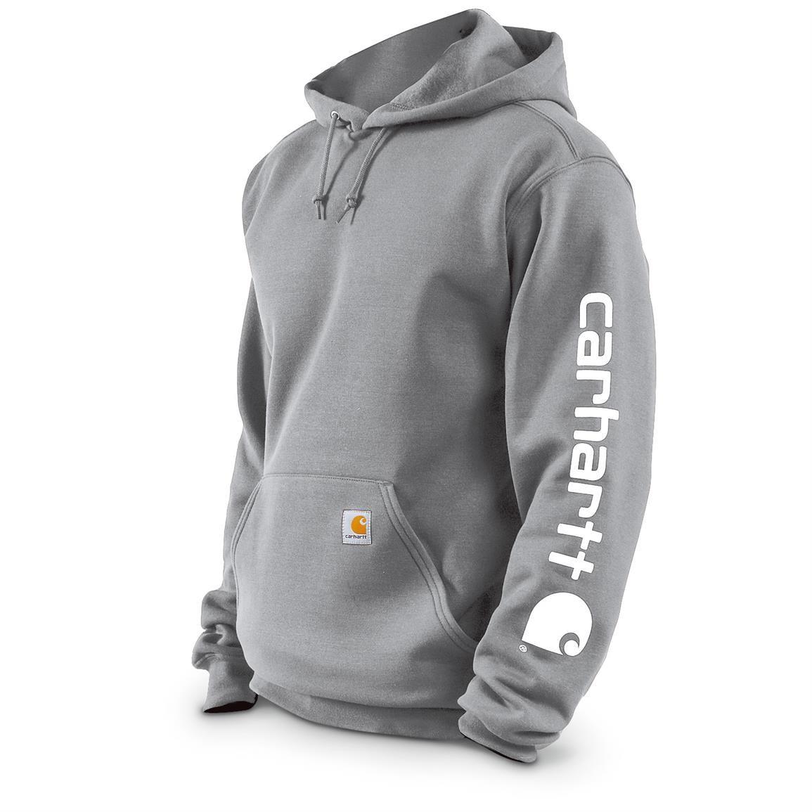 Carhartt Men S Midweight Hooded Sleeve Logo Sweatshirt Slight Irregulars Heather Gray Carhartt Sweatshirts Carhartt Mens Sweatshirts [ 1155 x 1155 Pixel ]