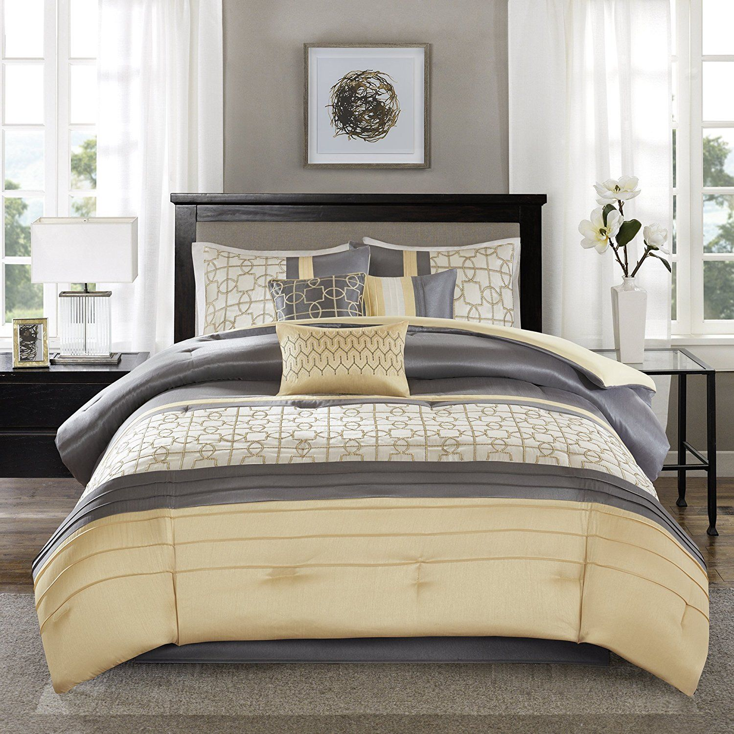 Yellow Grey White Simple Modern Bedding Sets