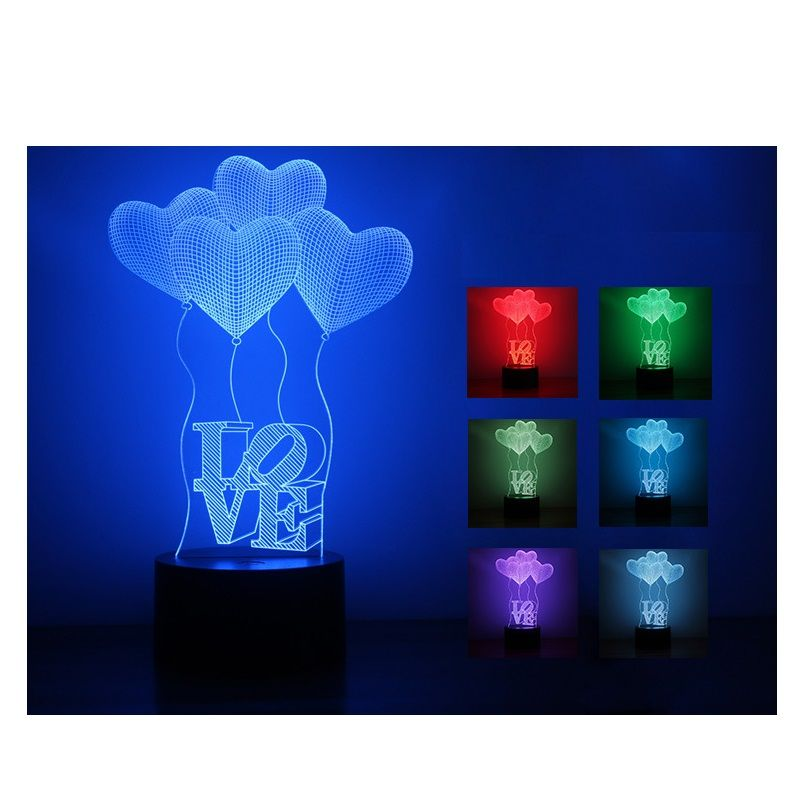 Free Shipping Buy Best New Arrival 3d Illusion Lamp Led Night Lights 3d Love Heart Acrylic Discoloration Col 3d Illusion Lamp Led Night Light Night Light