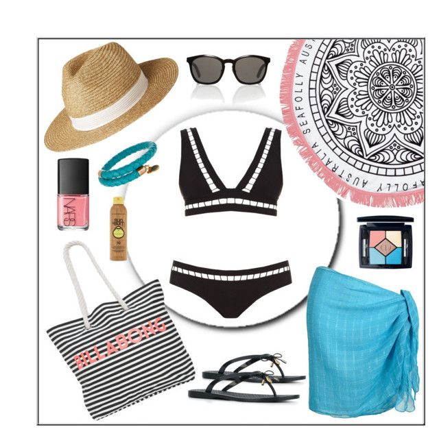 """""""Summer #41 - """"Tri Ladder Bikini"""""""" by sammers-i on Polyvore featuring Christian Dior, Tory Burch, Zimmermann, NARS Cosmetics, Lipsy, Alexander Wang, Seafolly, Billabong, Alex and Ani and Forever 21"""