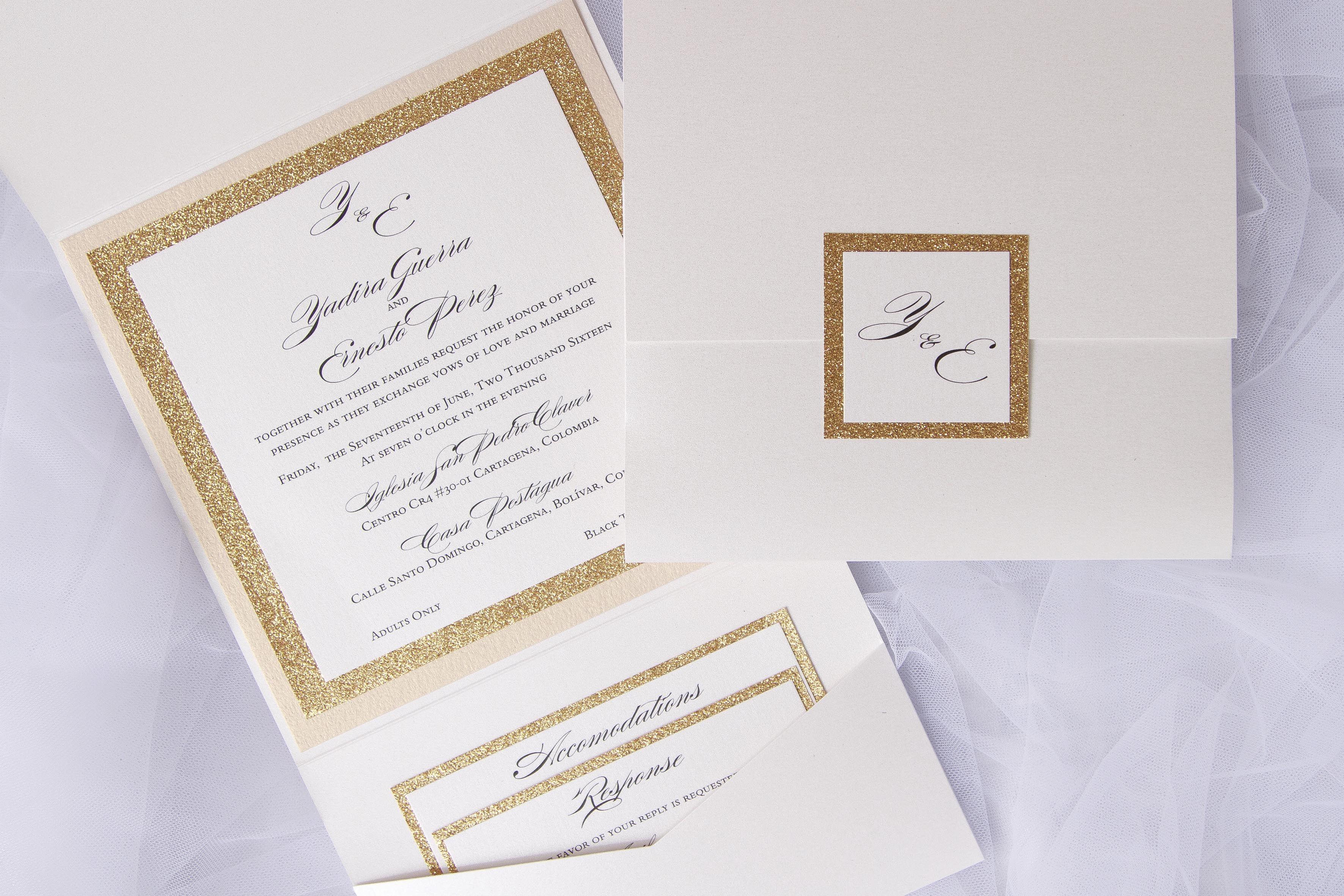Pocket with glitter gold   Lilian Designs Wedding Invitations ...