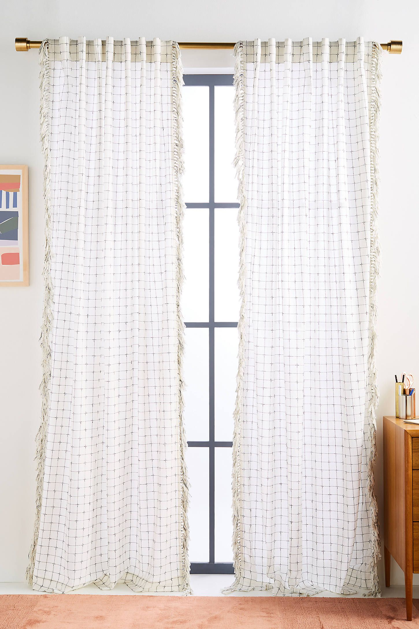Fringed Ilana Curtain by Anthropologie in Black, Curtains #curtainfringe