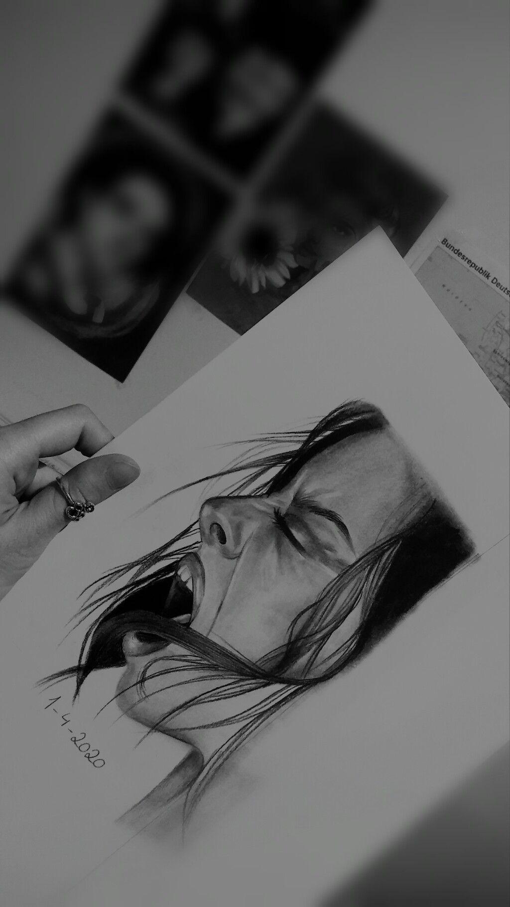 Girl Screams Pencil Art Drawings Screaming Drawing Cool Art Drawings