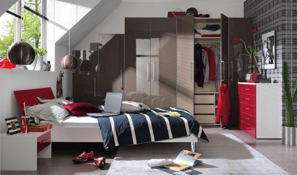 Wellemöbel Schlafzimmer ~ Wellemöbel bett alpinweiß rubinrot hochglanz möbel mit