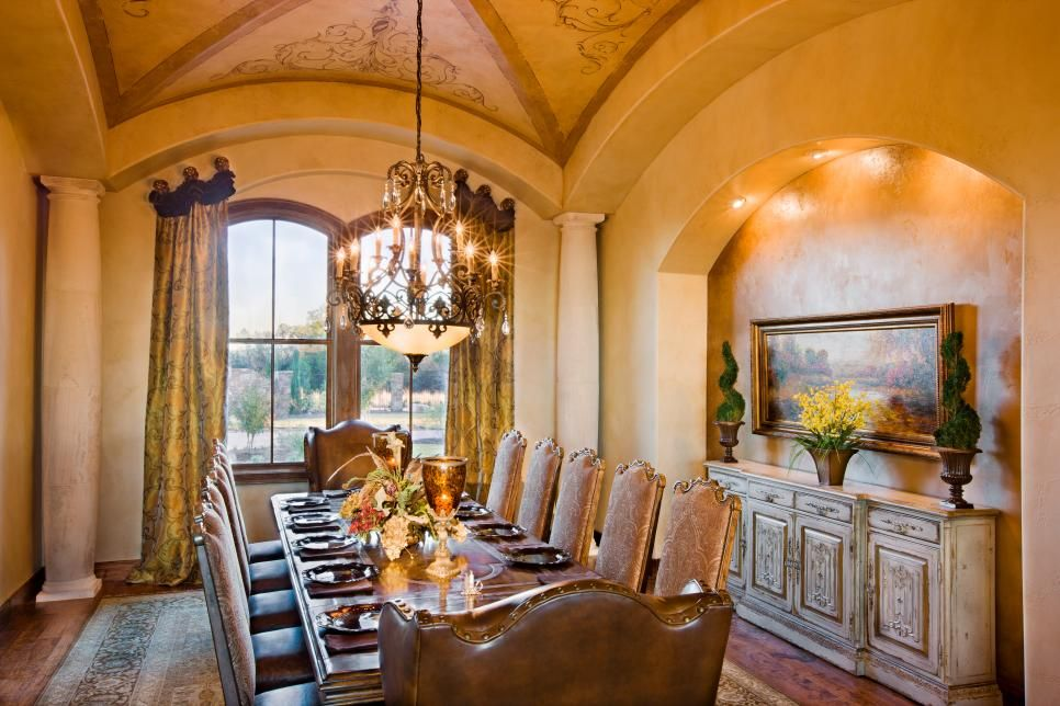 The Formal Dining Room Of This Mediterranean Style Estate Is Located Near Front Entry